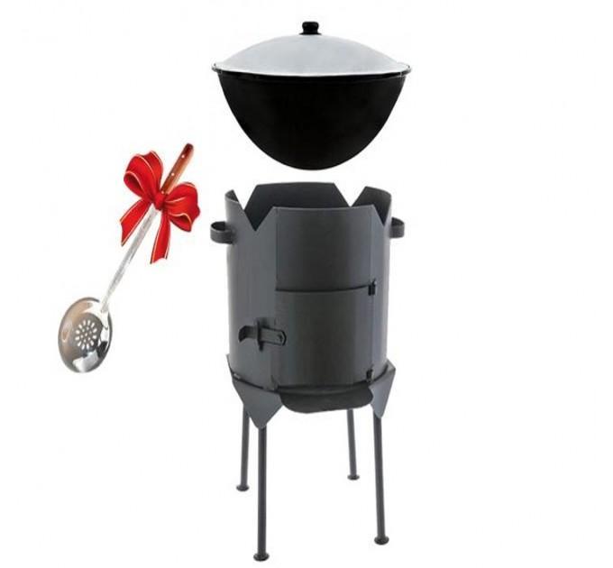 Комплект печь с дверкой + казан на 8 литров