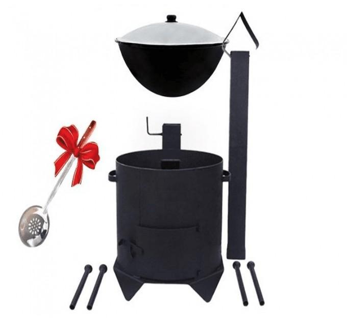 Комплект печь с дверкой и дымоходом + казан на 22 литра