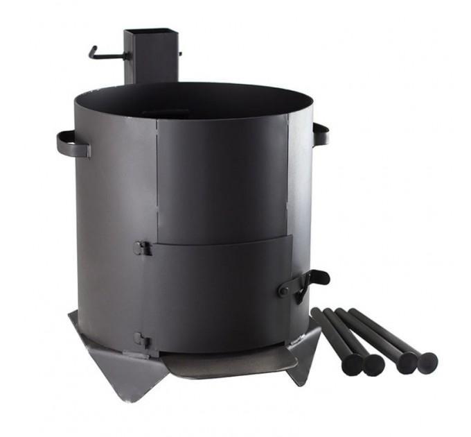 Печь усиленная для казана с дверцей и дымоходом на 4-ёх ножках на 22 л